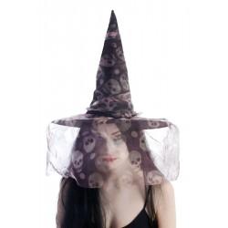 Chapeau de Sorcière Femme avec voilette tête de mort