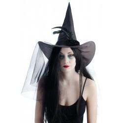Chapeau de Sorcière à plumes noires Femme