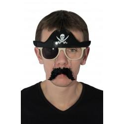 Lunettes de Pirate Adulte noir avec moustache et chapeau