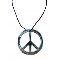 Collier de Hippie Argenté - Déguisement Hippie Adulte Année 60 The Duck