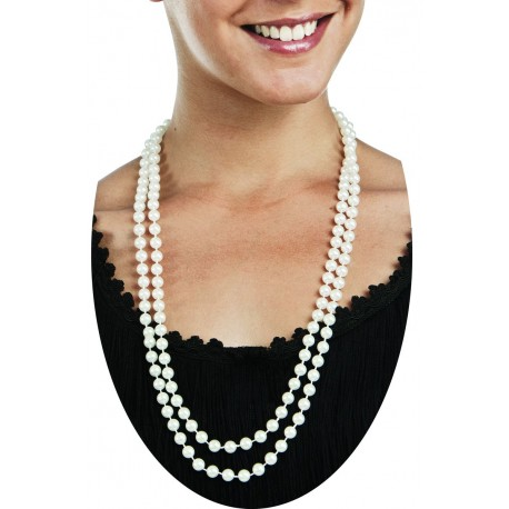 collier femme perles blanche