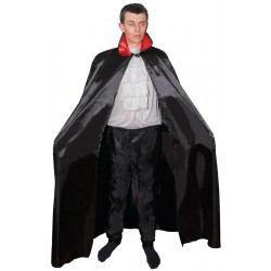 Cape Noir avec col Rouge Adulte 1,40m - Déguisement vampire adulte halloween The Duck