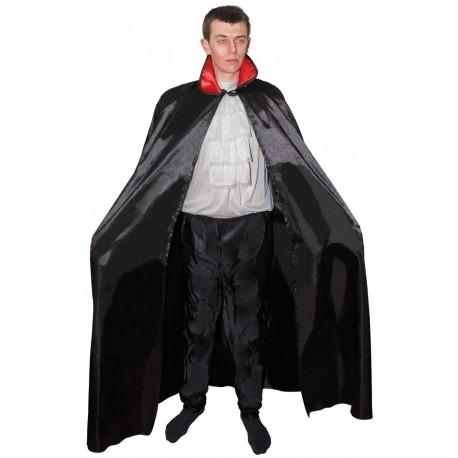 Cape Noir avec col Rouge Adulte 1,40m - Déguisement vampire adulte halloween The Duck