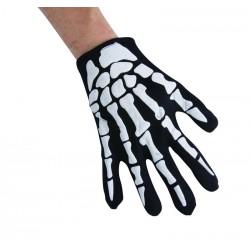 Gants de Squelette Adulte Noir & Blanc