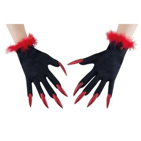 Gants De Sorcière Rouge et Noir Adulte - déguisement sorcière femme halloween the duck