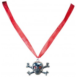 Collier Tête de mort Pirate Argent - déguisement pirate carnaval the duck