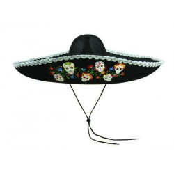 Chapeau Day of the Dead Mexicain Noir Adulte