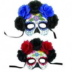 Loup Day of the Dead Adulte avec fleurs - Déguisement day of the dead adulte the duck