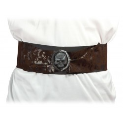 Ceinture de Pirate Adulte marron avec tête de mort - Déguisement pirate adulte carnaval the duck