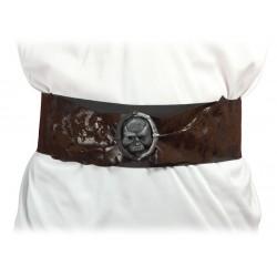 Ceinture de Pirate Adulte marron avec tête de mort