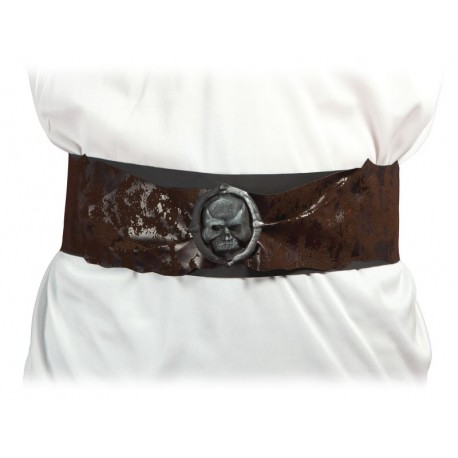 Ceinture de Pirate Adulte marron avec tête de mort - Déguisement pirate adulte carnaval the duck