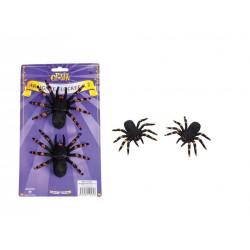 2 Araignées Floquées Noires - Décoration halloween araignée sorcière the duck