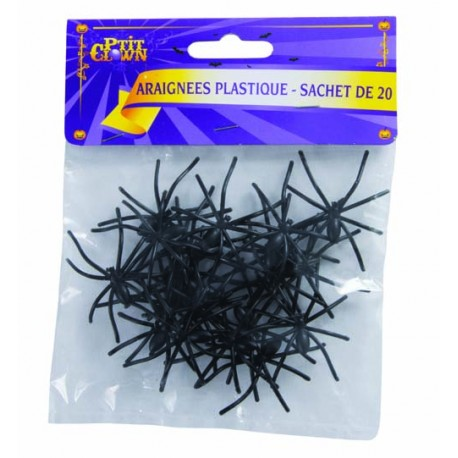 20 Araignées en plastique Noir - Décoration halloween araignée noir the duck