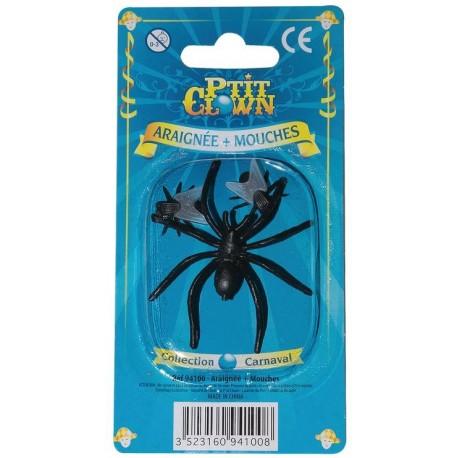 Lot de 2 Mouches & 1 araignées - Décoration halloween araignée the duck