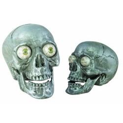 Tête de Mort Argentée Sonore et Lumineuse avec détecteur de présence