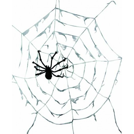 Toile d araign e g ante blanche avec araign e 290 cm for Toile d araignee decoration
