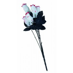 Roses Blanche Sanglante 54cm - Décoration halloween vampire the duck