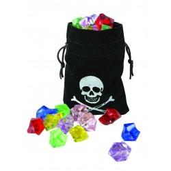 Bourse de Pirate Noire avec fausses pierres précieuses