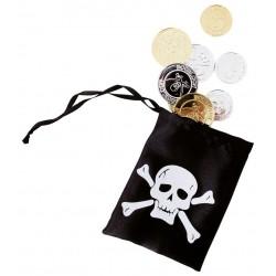 Bourse de Pirate Noire : 12 pièces dorées et argentées