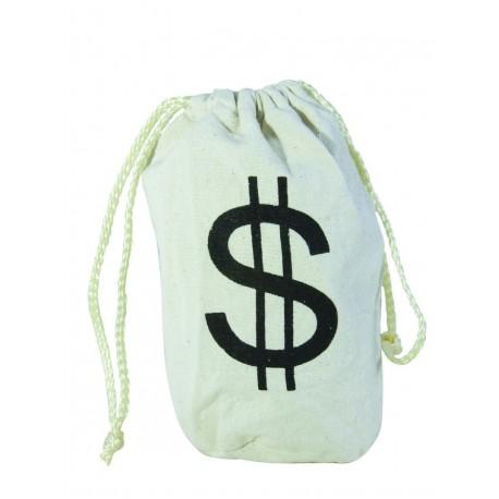 Sac Dollar Blanc de Voleur de Banque - Déguisement gangster carnaval the duck