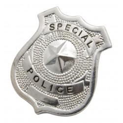 Badge de Policier en métal argenté - Déguisement police carnaval the duck
