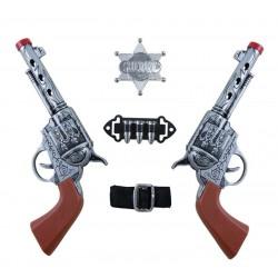 Kit de Cow Boy : 2 revolvers, 1 Ceinture avec balles & 1 Etoile - Déguisement cow boy carnaval the duck
