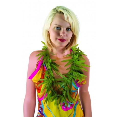 Collier Feuilles de Cannabis Vertes Adulte - Déguisement humoristique carnaval the duck