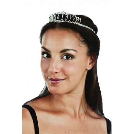 Diadème de Princesse Argenté avec strass - Déguisement princesse femme the duck