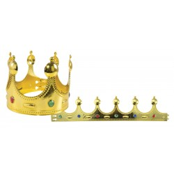 Couronne de Roi Or et Fausses Pierres - Déguisement roi médiéval adulte the duck