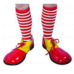 Chaussettes de Clown Rayées Rouge et Blanche Adulte - Déguisement clown adulte carnaval the duck