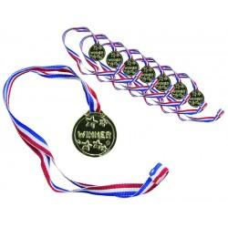 Médailles Dorées avec Ruban Bleu, Blanc & Rouge - Lot de 8