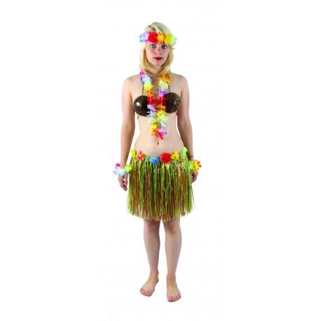 Jupe hawaïenne 40 cm Femme -Déguisement Hawaïen Femme The Duck