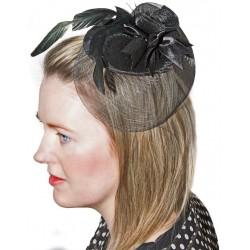Mini-Chapeau Bibi Noir avec barrette femme