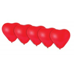 Ballons Cœur rouge - Lot de 5