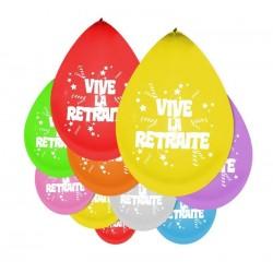 Ballons Vive La Retraite Multicolore - Sachet de 10