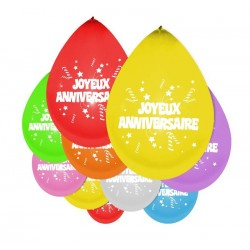 Ballons Joyeux Anniversaire Multicolore - Décoration ballon de baudruche latex the duck