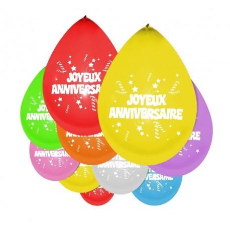 Ballons Joyeux Anniversaire Sachet De 10 Ballons Helium Sur