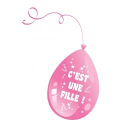 Ballons C'est une Fille Rose Baby Shower - Sachet de 10