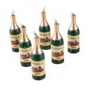 Bougies Bouteilles de Champagne Doré - Blister de 6