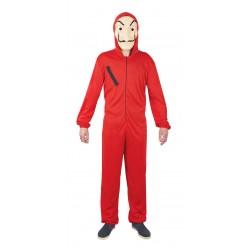 Ce déguisement de cambrioleur rouge pour adulte comprend une combinaison rouge (chaussures et masques non inclus).