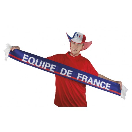 Echarpe de Supporter France Bleu Blanc Rouge Adulte - Déguisement supporter france the duck