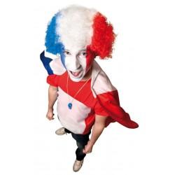 Perruque Pop France Bleu, Blanc & Rouge - déguisement supporter perruque the duck