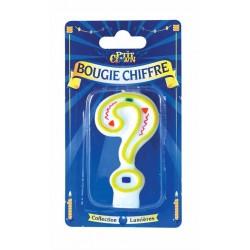 Bougie Chiffre Jaune Point d'Interrogation