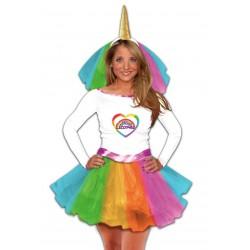 Déguisement de Miss Licorne Multicolore Femme