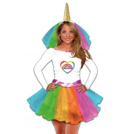 Déguisement de Miss Licorne Multicolore Femme - Costume humour femme the duck