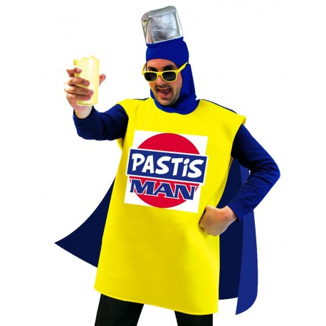 Costume de Pastis Man Bleu & Jaune Adulte - Déguisement humour adulte the duck