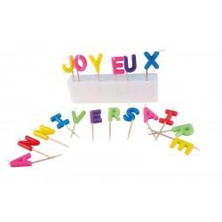 """Bougie """"Joyeux Anniversaire"""" Multicolores"""