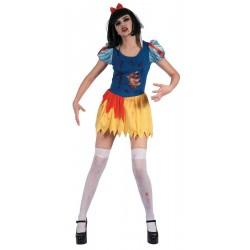 Ce déguisement de princesse de contes de fée zombie pour femme comprend une robe et un serre-tête (bas, perruque et chaussures non inclus).