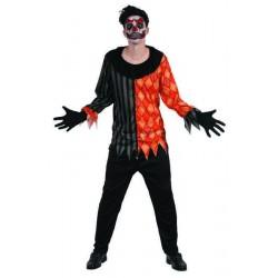 Déguisement de Clown Horrible Noir & Orange Adulte - Costume clown halloween the duck