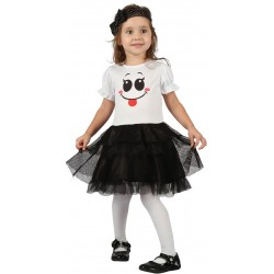 Ce déguisement de fantôme pour fille comprend une robe et une coiffe (bas et chaussures non inclus).
